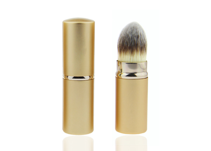 Middle Length Nylon Hair Retractable Powder Brush With Gold Handle