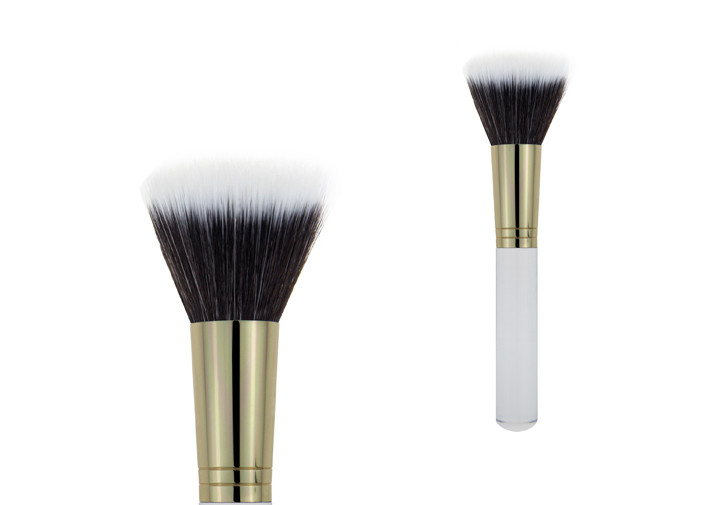 Popular White Handle Makeup Buffer Brush With Aluminium Ferrule