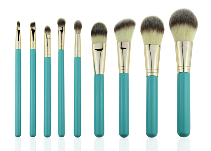 Soft Fiber Hair Foundation Makeup Brush Blue Wooden Handle With Case