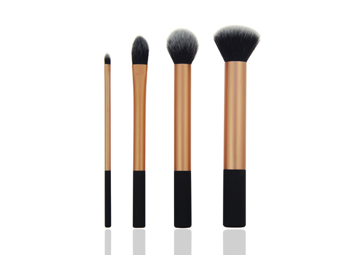 4 Pieces Foundation Makeup Brush Long Handle Duo Fiber Synthetic Hair Case