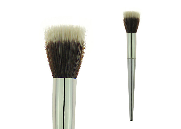 Stainless Metal Handle Concealer 	Foundation Makeup Brush With Gold Aluminum Handle