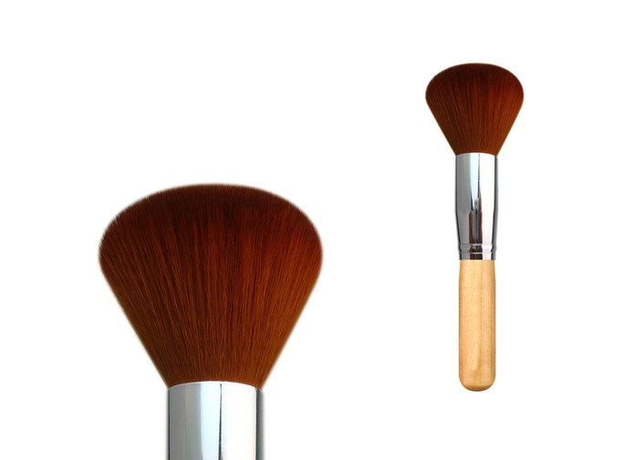 Tulip Shaped Nylon Hair Metal Ferrule Flat Top Buffer Brush With Three Color