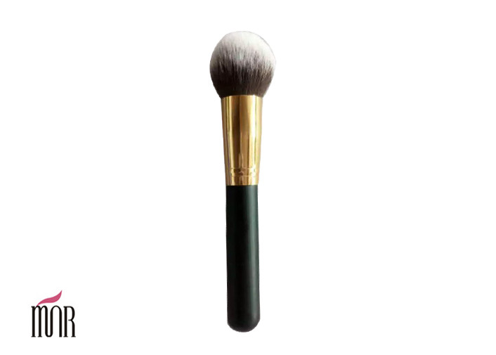 Round Makeup Double Color Contour Blush Brush Nylon Hair And Gold Aluminum