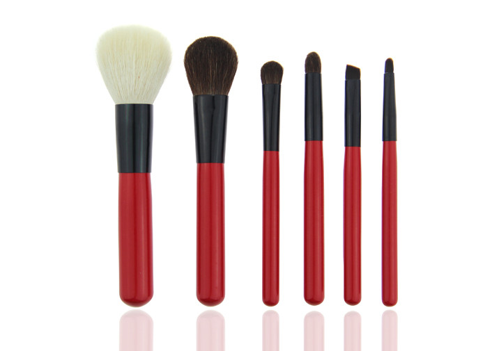 Mini Red Travel Makeup Brush Set Professional Makeup Brushes For Face and Lip