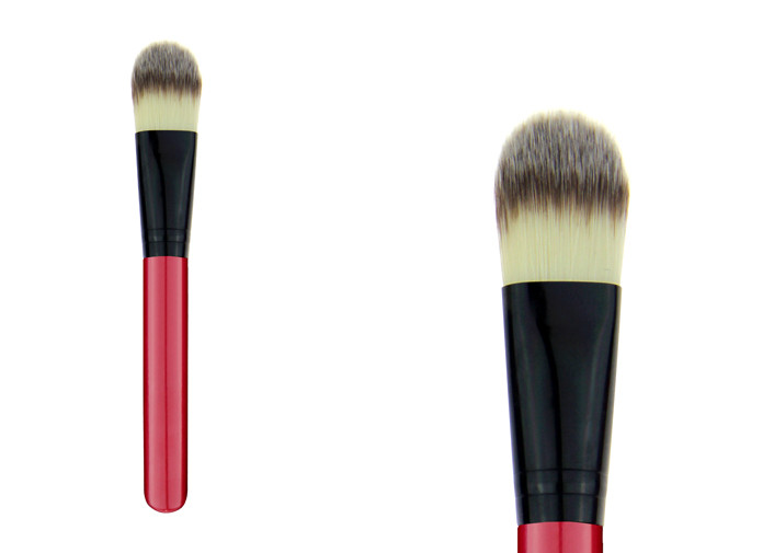 Custom Face Red Powder Foundation Brush Synthetic Makeup Brushes